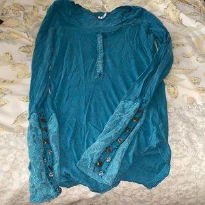 Free people shirt green xs lace cuffs
